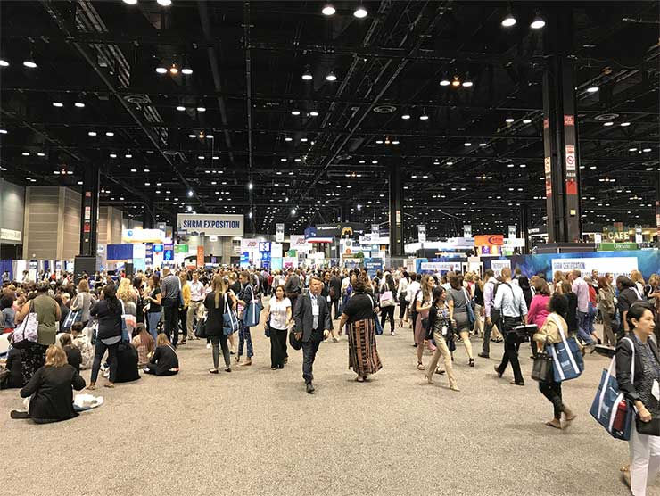 A view of the exhibition halls at the 2018 SHRM Conference.