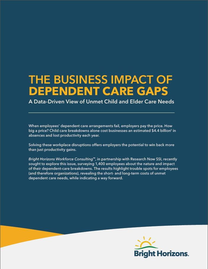 A preview of the cover of the Business case for backup care report.