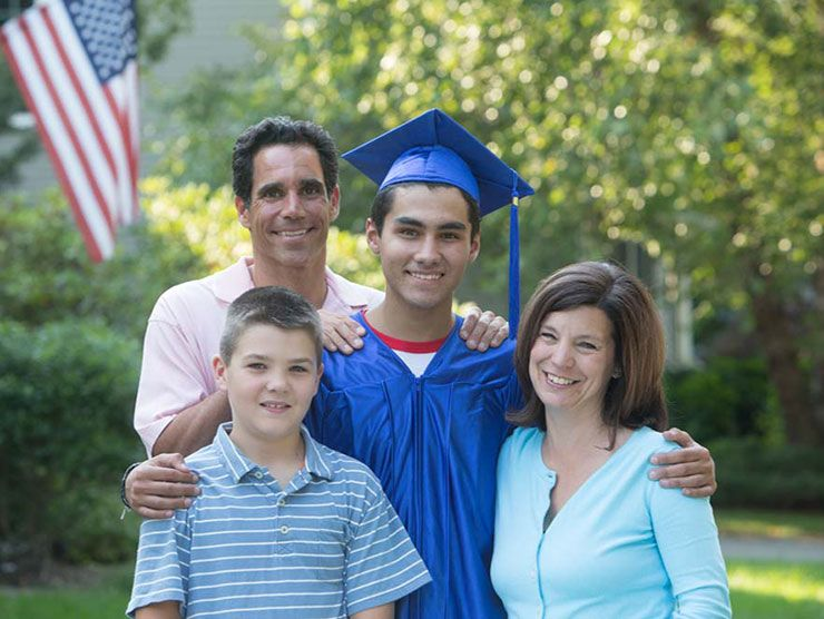 Family with their college-bound, high school graduate