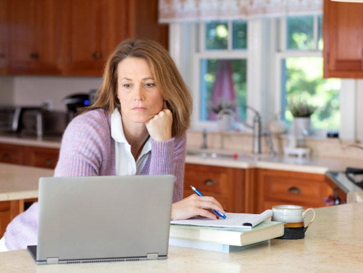 Employee working from home feeling burned out