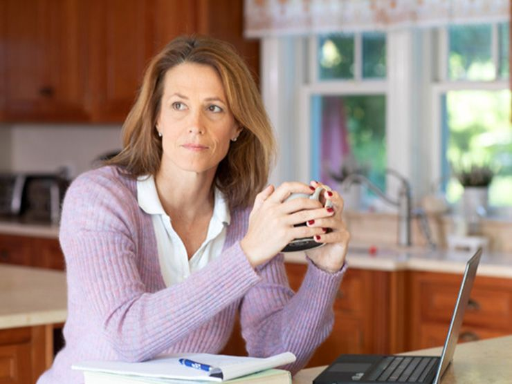 Women working from home due to COVID-19