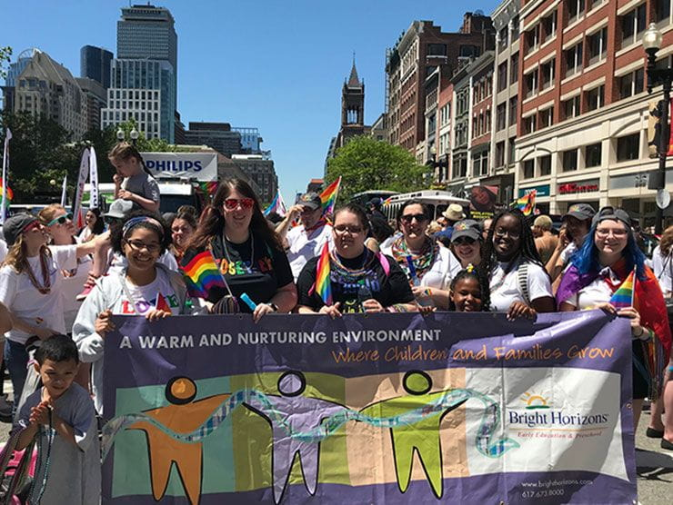 Bright Horizons employees marching in Boston's 2019 Pride Parade
