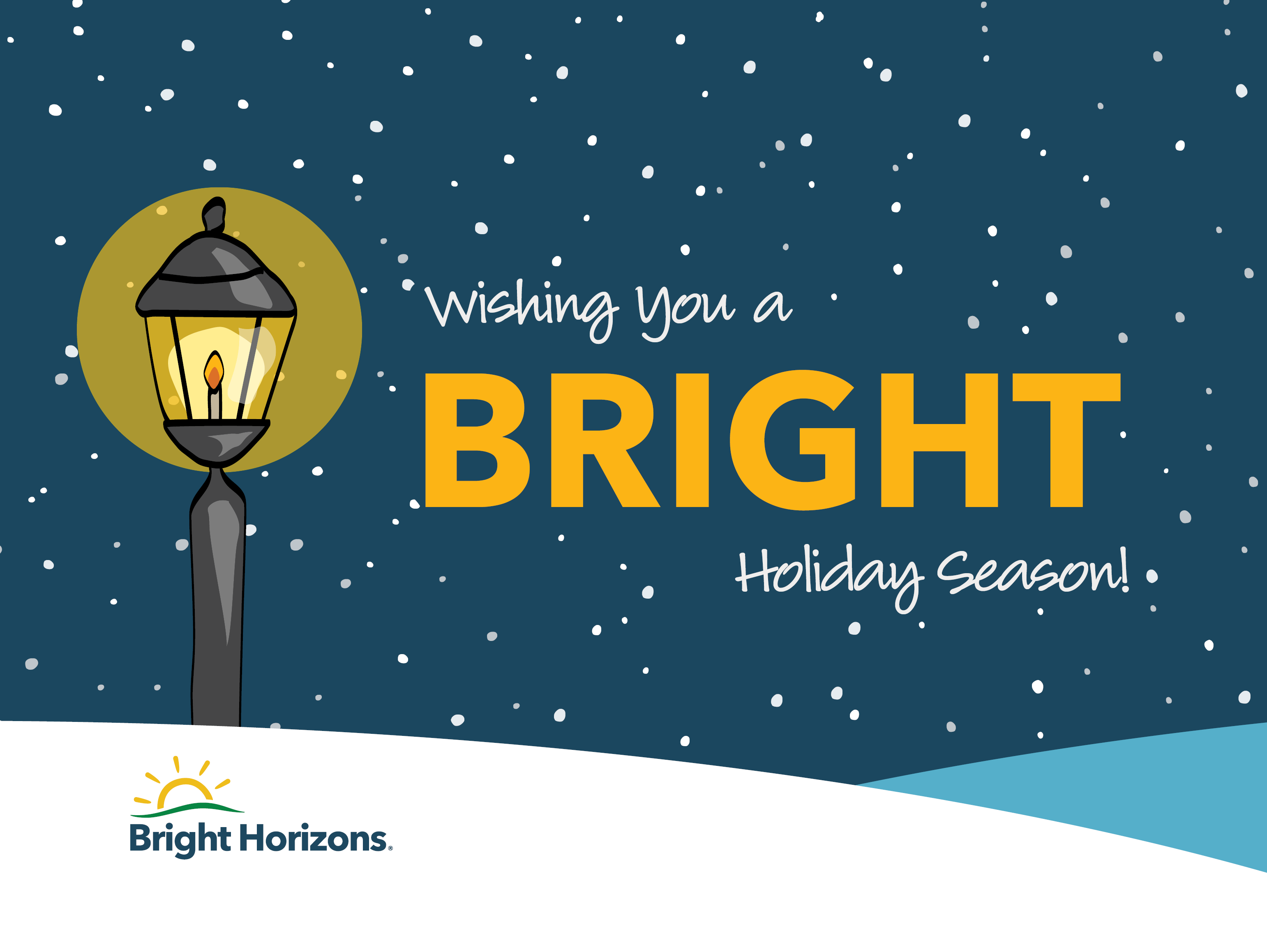 Happy Holidays graphic with a lamppost