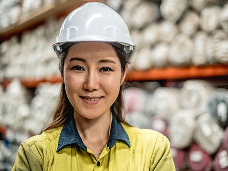 Female manufacturing worker in a factory