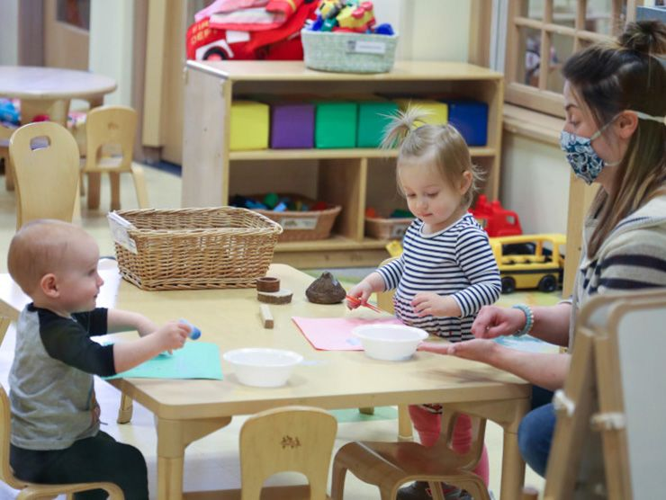 Toddlers happy at their child care center