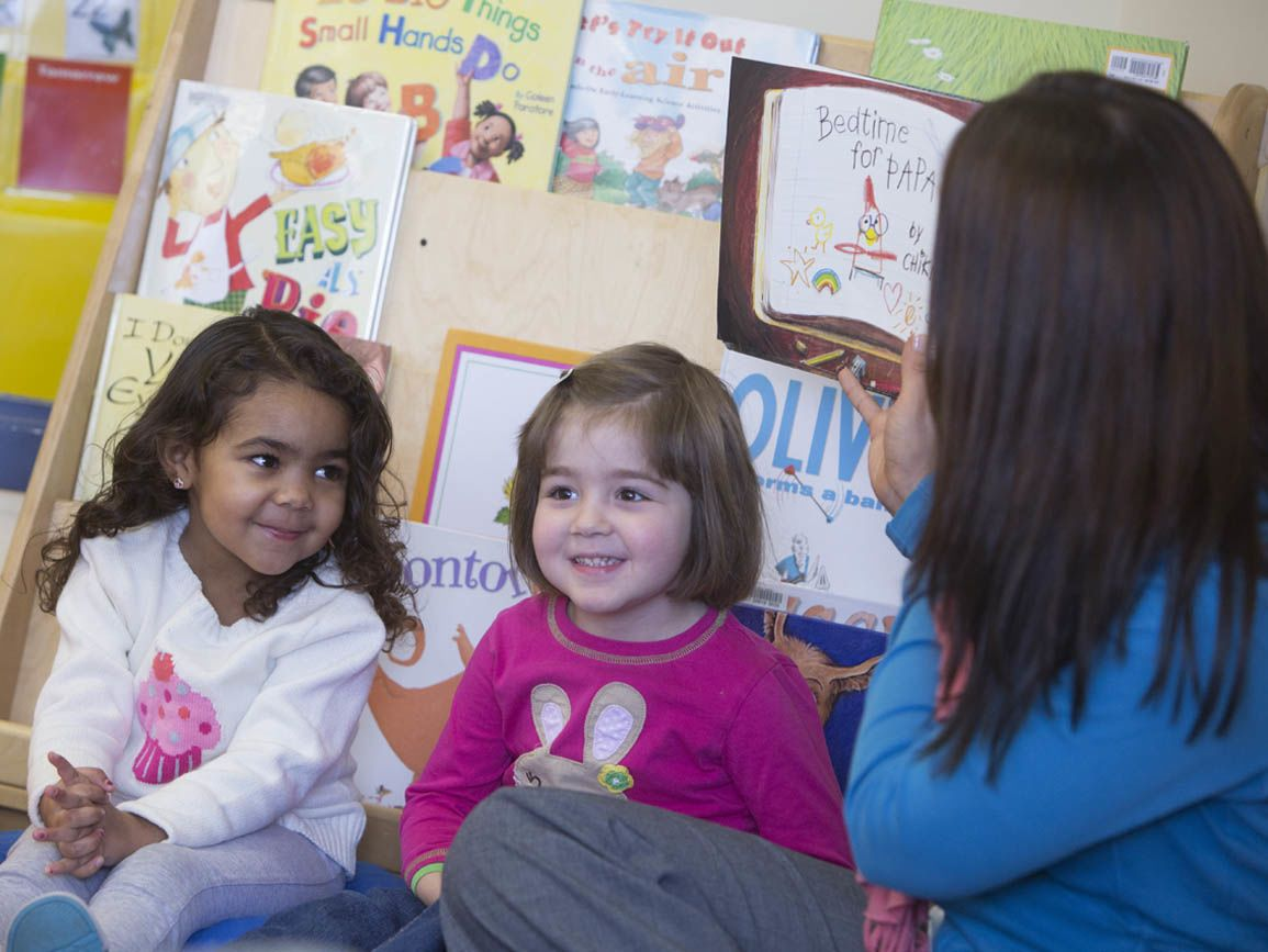 Teacher reading aloud to two preschool aged girls