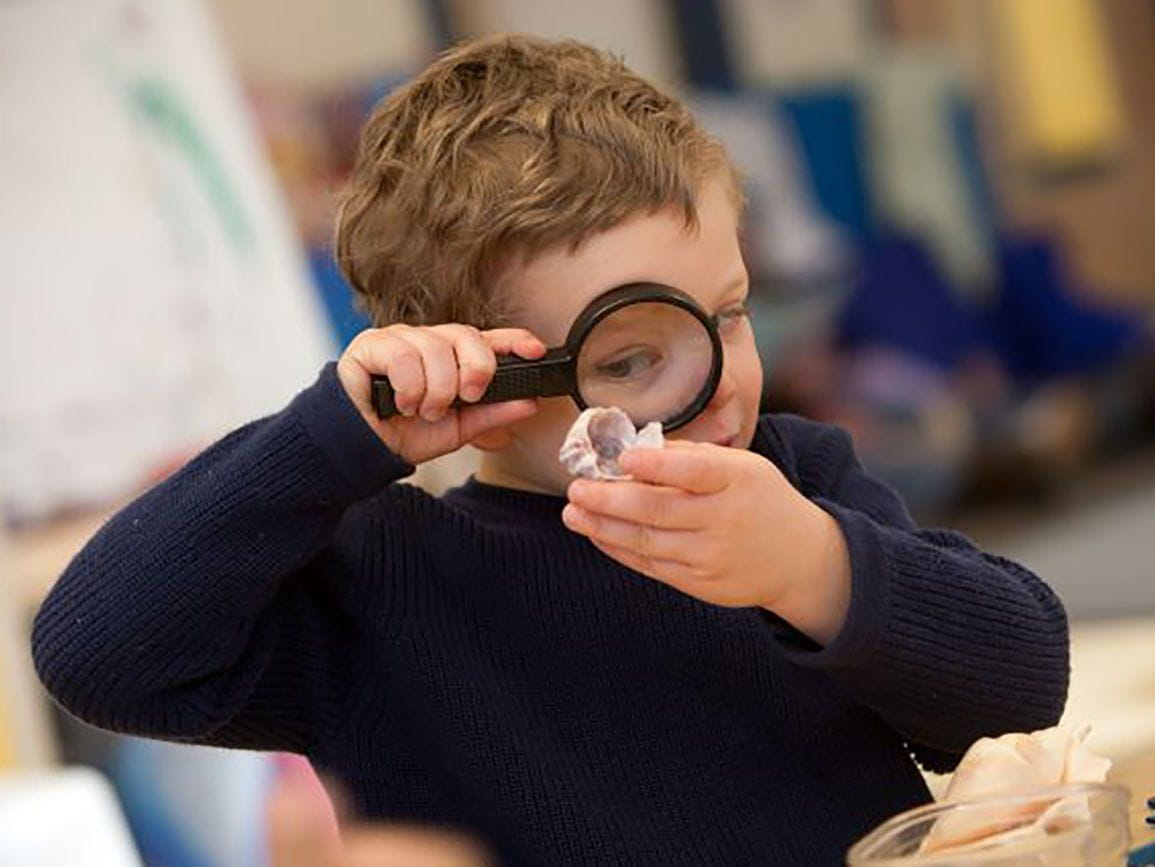 Preschool boy with magnifying glass