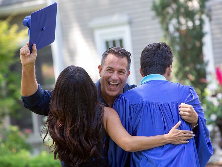 Family celebrating graduation