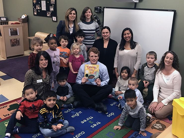 "Massachusetts Rep. Joseph P. Kennedy III reads to children at Bright Horizons at Newton for ""Read for the Record."""