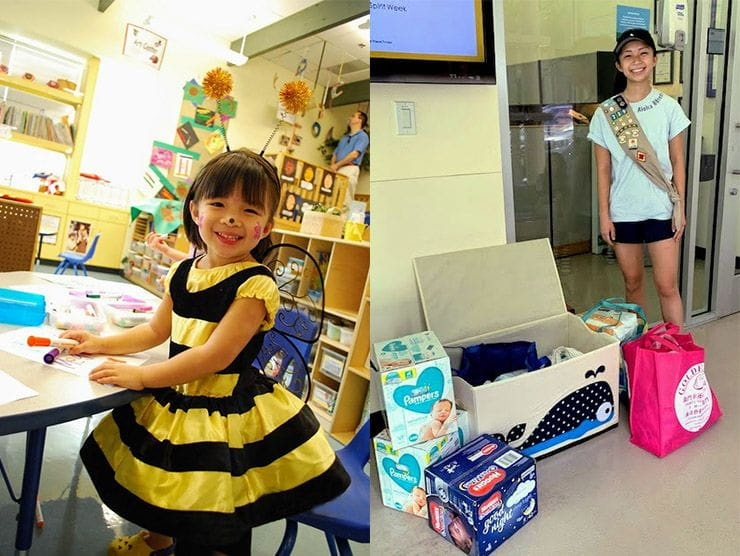 Megan Wang at Camp Amgen as a child, and then again at the center collecting diapers as a Senior Girl Scout.