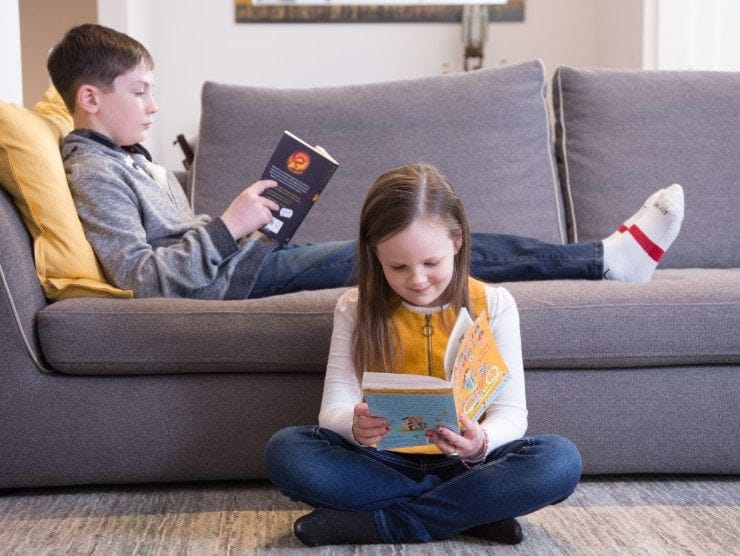 children reading at home
