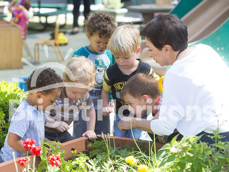K Prep students and teacher observing the outdoor garden