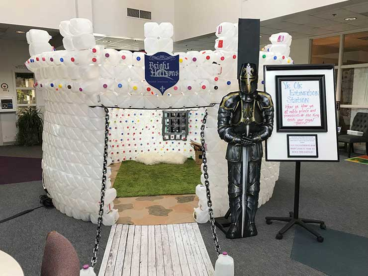 A castle made out of recycled materials by bright horizons students