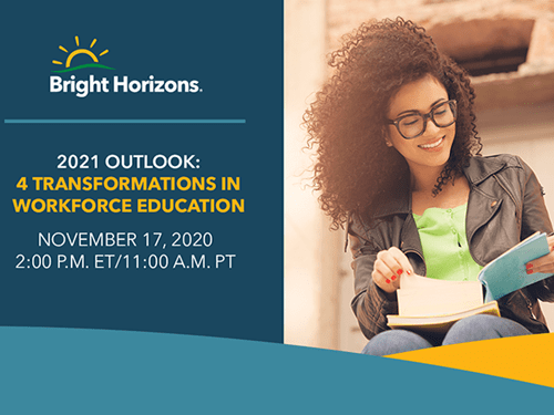 Graphic to promote a webinar on 2021 transformations to workforce education